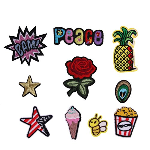 Iron On - 1 Set Mixed Applique Clothing Embroidery Patch Sticker Iron On Sew Diy Garment Clothes - Jewels Mickey Jeans Book Dark Yellow Soccer Superhero Appliques -