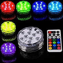 StillCool 4Pcs Battery Operated RGB Color Changing LED Submersible Light + IR Remote for Party, Wedding, Holiday Lighting