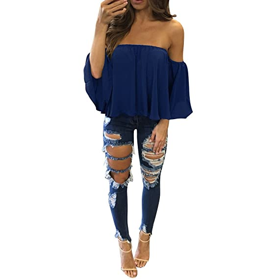 Mujer Long Sleeves Snow Spinning Strapless Loose T-Shirt Blusa