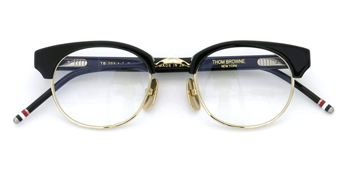 fc85fe34c133 Amazon.com  THOM BROWNE TB-702-D-NVY-GLD Eyeglasses Navy Gold w Demo Lens  47mm  Clothing
