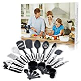 22 Piece Kitchen Utensils Set - Premium Stainless Steel & Nylon Kitchen Utensils - Heat Resistant Up to 410°F- Safe on Nonstick Cookware -Turners, Tongs, Spoons, Spatulas & More + Recipes ebook