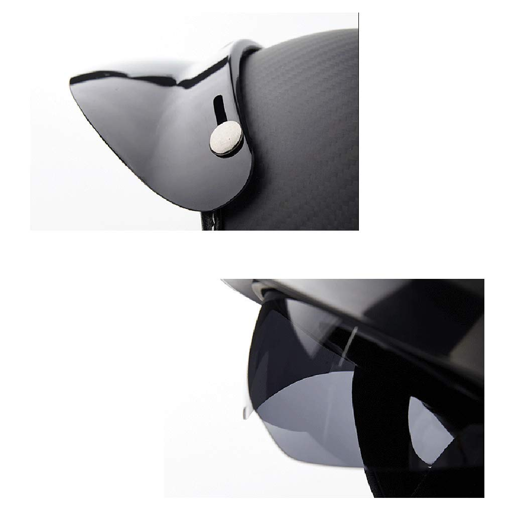Color : Matte Black, Size : M Personality Carbon Fiber Helmet Men and Women Motorcycle Retro Half Helmet Four Seasons Prince Helmet Electric Car Helmet