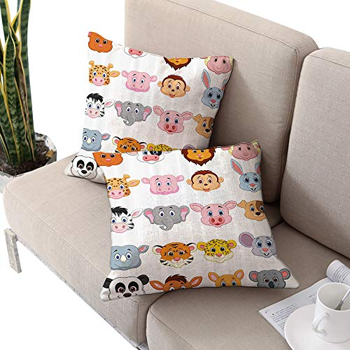 Cartoon Square chaise lounge cushion cover ,Kids Decoration Baby Animals Lions Pigs Cows Farm Safari Baby Nursery Room Image Multicolor W14