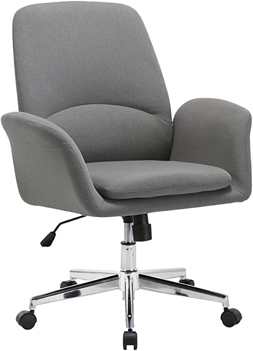Amazon Com Novigo Upholstered Home Office Chair With Comfy Back Support For Conference Room Study Grey Kitchen Dining