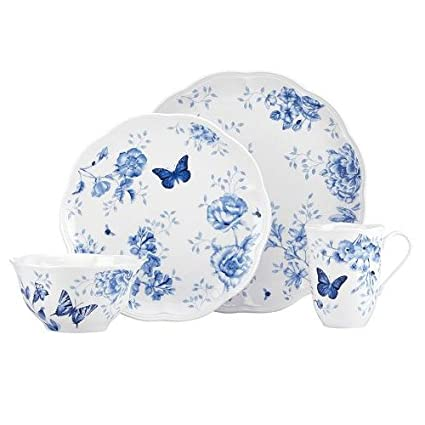 Lenox Blue Butterfly Meadow Toile 4 Piece Porcelain Dinnerware Table Setting  sc 1 st  Amazon.com & Amazon.com: Lenox Blue Butterfly Meadow Toile 4 Piece Porcelain ...