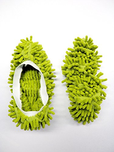 GREEN MICROFIBRE DUSTER SLIPPERS MOP DUST CLOTH CLEANING FLOOR POLISHERS