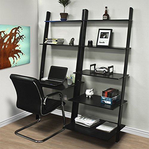 AUEY Leaning Shelf Bookcase with Computer Desk Office Furniture Home Desk Wood (Bookcase Leaning Desk)