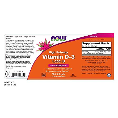 Now Supplements, Vitamin D-3 1000 IU, 180 Softgels by NOW Foods (Image #2)
