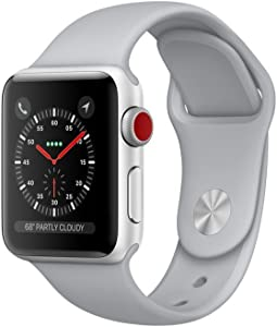Apple Watch Series 3 (GPS + Cellular, 38MM) - Silver Aluminum Case with Fog Sport Band (Renewed)