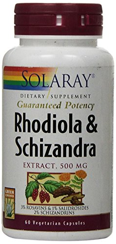 Solaray Rhodiola and Schizandra Supplement, 500 mg, 60 Count