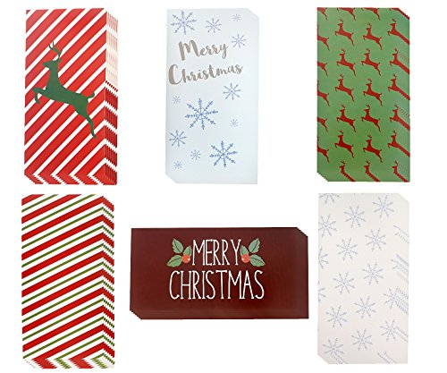 Christmas Money Greeting Cards - 36 Pack Assorted - 6 Winter Holiday Designs, Snowflakes, Stripes, Reindeer, Candy Canes, Mistletoe 4 x 8 With Envelopes Included by Juvale