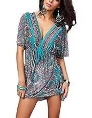 فستان الشاطئ النسائي من GAGA بأكمام قصيرة ورقبة على شكل حرف V فضفاض مطبوع أنيق متوسط الطول