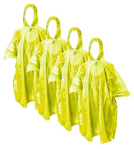 com-four® 4X Regenponcho mit Kapuze - Regenschutz mit Mehrweg-Poncho - Notfallponcho für Konzert, Stadion, Wandern, Camping