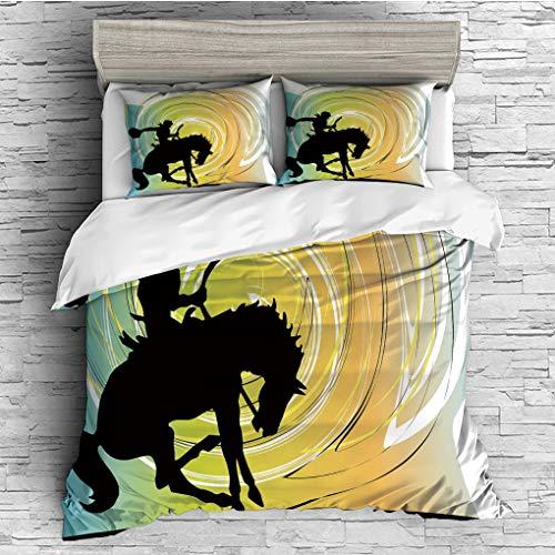 Chloe Duvet Cover - SCOCICI Double Size Duvet Cover Set/Western,Galloping Horse Cowboy Silhouette Colorful Abstract Circular Backdrop Equestrian Decorative,Multicolor / 3 Piece Bedding Set