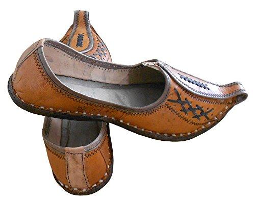 KALRA Creations Herren Traditionelle indische Leder Designer Schuhe Braun