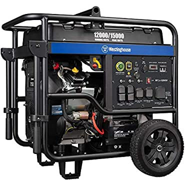 Westinghouse WGen12000 Ultra Duty Portable Generator 12000 Rated Watts & 15000 Peak Watts Gas Powered Electric Start Transfer Switch & RV Ready CARB Compliant