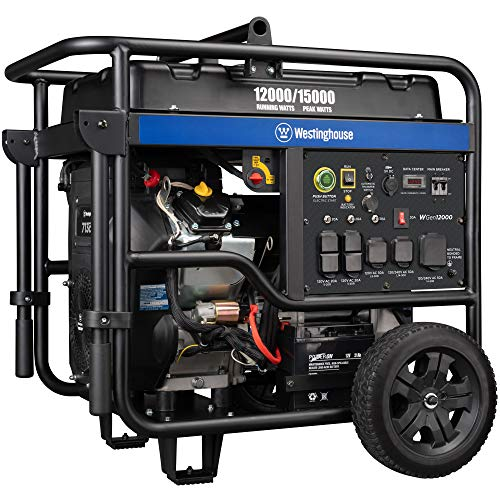 Westinghouse WGen12000 Ultra Duty Portable Generator - 12000 Rated Watts & 15000 Peak Watts - Gas Powered - Electric Start - Transfer Switch & RV Ready - CARB Compliant (Key Ultra Remote Fob Start)