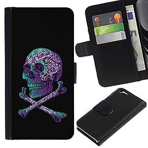 KingStore / Leather Etui en cuir / Apple Iphone 6 / Cráneo púrpura Negro Teal Crossbones