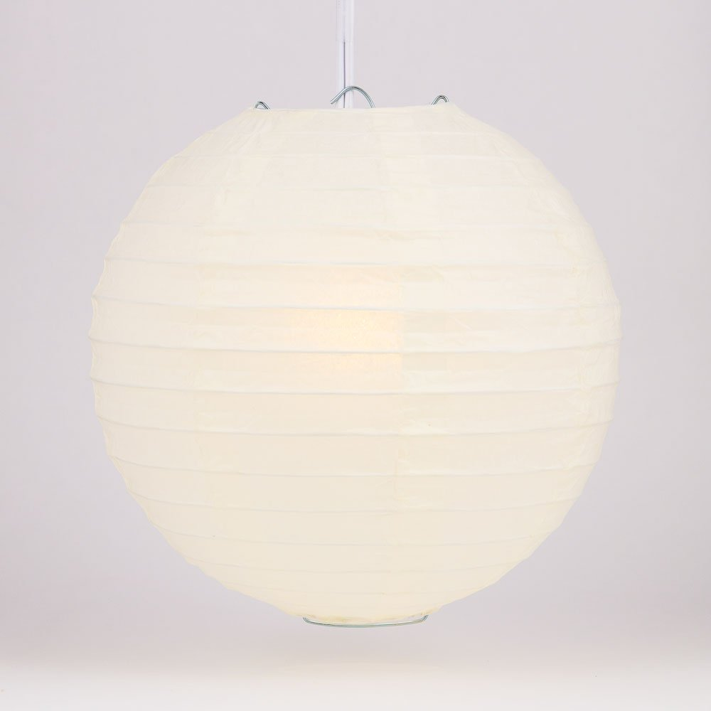 Quasimoon PaperLanternStore.com 14'' Beige/Ivory Round Paper Lantern, Even Ribbing, Hanging Decoration