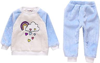 Conjuntos de Pijamas de Franela arcoíris para niños Ropa de Dormir para bebés Ropa de Dormir para niños