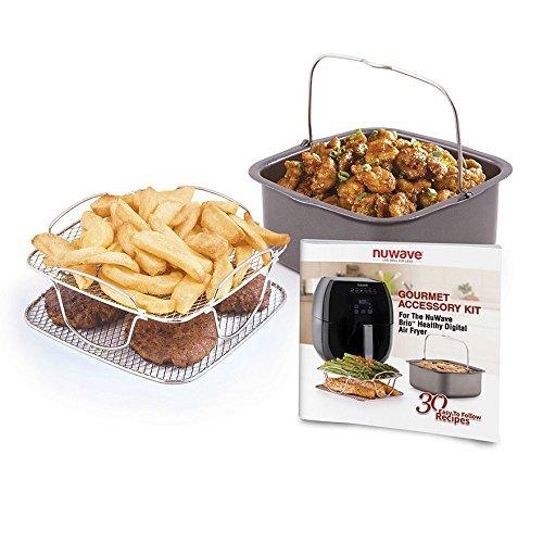 NuWave Brio 6 Quart Digital Air Fryer - Black with NuWave Brio Air Fryer with 3 Piece Gourmet Accessory Kit