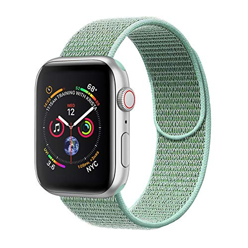 (amBand Compatible for Apple Watch Sport Loop Band 38mm, Lightweight Breathable Nylon Replacement Band Compatible for Apple Watch Series 1, Series 2, Series 3, Sport, Edition-Marine Green )