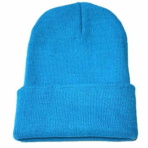 Weiliru Unisex Baggy Lightweight Hip-Hop Soft Cotton Slouchy Warm Stretch Beanie Hat Sky Blue