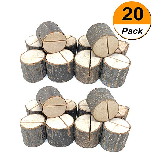 Xtay Eeqg Tkgg Place Wooden Card Holders Table Number Stands for Home Party Decorations. Pack of 20 20pcs Wood ()