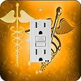 Rikki Knight 8867 Orange Medical Doctor Symbol Design Light Switch Plate
