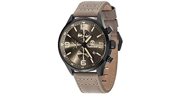 Amazon.com: Timberland Rutherford Mens Analog Quartz Watch with Leather Bracelet 15266JSB-79: Watches