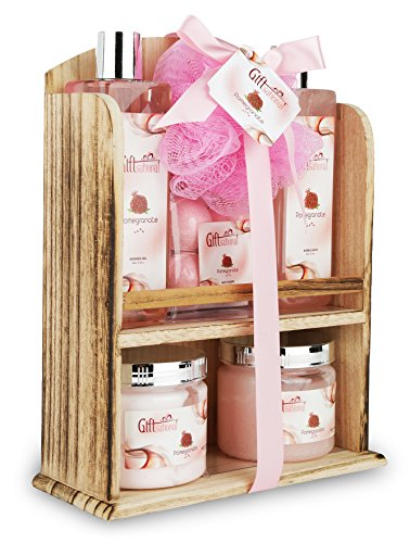 Spa Gift Basket With Lovely Pomegranate Fragrance - Bath set Includes Shower Gel, Bubble Bath, Bath Bombs and More! Great Wedding, Birthday, Anniversary or Graduation Spa Gift Set for Women and Girls