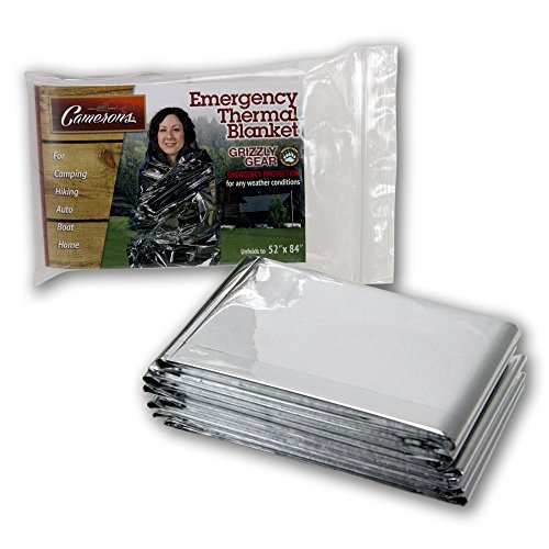 "Emergency Thermal Blankets Grizzly Gear Folds to 52"" X 84"""