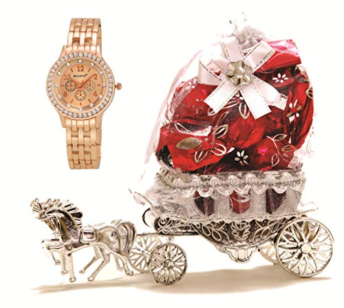 Skylofts Beautiful 10pc Chocolate Horse Decoration Piece with Women Watch Birthday Gifts (Pink) (with Watch)
