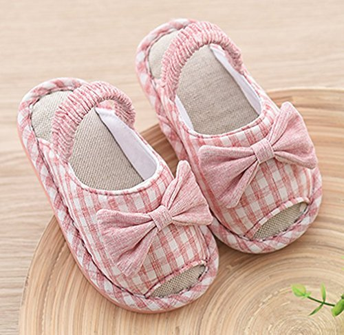 Cattior Toddler Cute Kids Slippers House Shoes Open Toe (7 M, Pink)