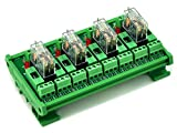 ELECTRONICS-SALON DIN Rail Mount Fused 4 DPDT 5A Power Relay Interface Module, G2R-2 12V DC Relay