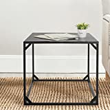 Square Design End Table, Black Metal Side Table / Nightstand - 22 Inch