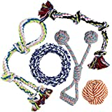 Whoobee Dog Rope Toys, Puppy Chew Toys for Playtime and Teeth Cleaning, Durable Cotton Tug of War Balls Interactive Toys for Medium to Large Dogs(Set of 5)