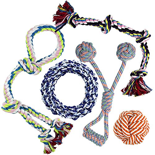 Whoobee Dog Rope Toys, Puppy Chew Toys for Playtime and Teeth Cleaning, Durable Cotton Tug of War Balls Interactive Toys for Medium to Large Dogs(Set of 5) (Toy Tug Rope)