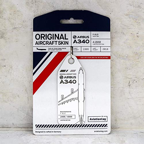 AVT010 AviationTag Airbus A340 (Air France) White Original Aircraft Skin Keychain/Luggage Tag/Etc with Lost & Found Feature