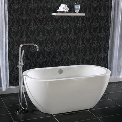 Miseno 3034270 Acrylic Free Standing 60u0026quot; X 30u0026quot; Bathtub   Includes  Chrome Drain Assembly