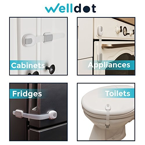 Baby Safety Locks | Baby Proofing Cabinets | Fridge Lock | Toilet Locks | Baby Proof Drawers, Appliances, Oven Lock | No Tools | Adjustable Strap + Extra Strong 3M Adhesives (6 Pack) by Welldot