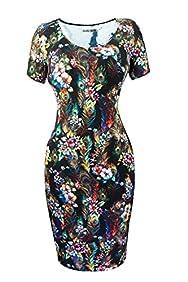 Heloise Women's Short Sleeve Scoop Neckline Slim Fit Floral Summer Dress