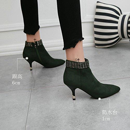 Souliers Mesdames En Bottes par Correspond Khskx Green Atmosphère De À Beaux Daim Chaussures Mince Avec Pur Des Pointus wfv77qB4xA