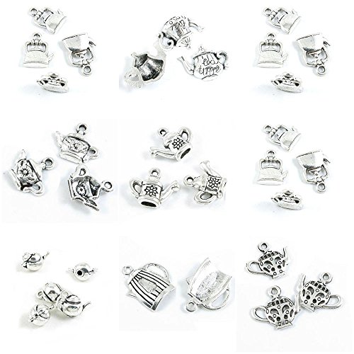 31 Pieces Antique Silver Tone Jewelry Making Charms Teapot Tea Kettle Pot -