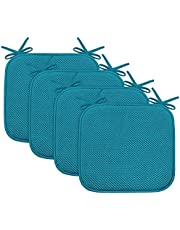 """Turquoize Non Slip Honeycomb Premium Comfort Memory Foam Chair Pads/Cushions with Ties - Seat Cover 16"""" x 16"""" Assorted Colors(Black/White/Gray/Navy/Sand/Burgundy)"""