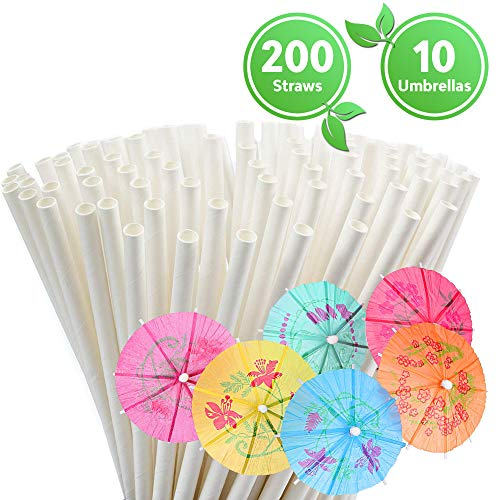 Paper Straws Biodegradable – Eco Friendly Straws – Box of 200 – Also Includes 10 Paper Cocktail Umbrellas - Drinking Straws for Smoothies, Juices and Party (White paper straws + paper umbrellas)