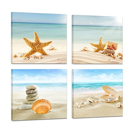 Cappla Art 4 Panel Modern Summer Concept Seascape Painting Artwork Tropical Sandy Beach Starfish Seashells Pearl Still Life Marine Canvas Picture Print Wall Art for Home Decor