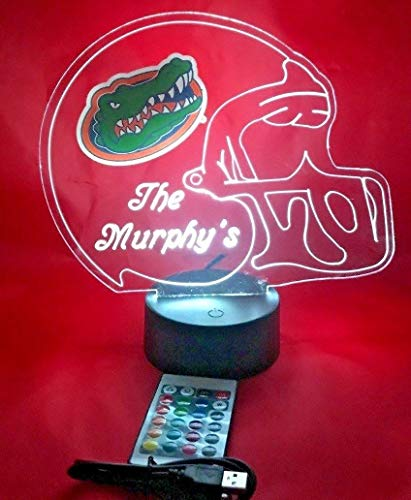 (Florida Gators NCAA College Football Helmet Light Lamp Light Up Table Lamp LED with Remote, Our Newest Feature - It's Wow, with Remote 16 Color Options, Dimmer, Free Engraving, Great Gift)