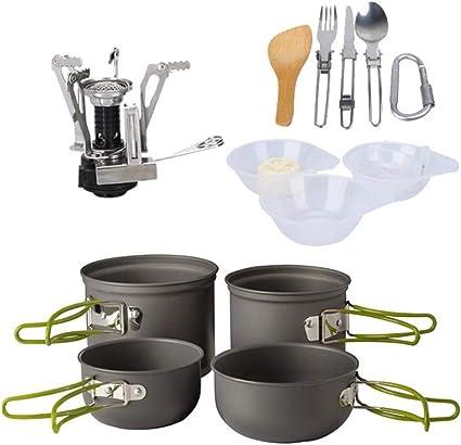 Utensilios de cocina para camping 2 Ollas 2 Sartenes Olla ...