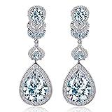 CWWZircons Women's Long Big Teardrop Dangle Earrings for Wedding jewelry with Cubic Zirconia